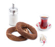 Turkish tea, simit and processed cheese isolated