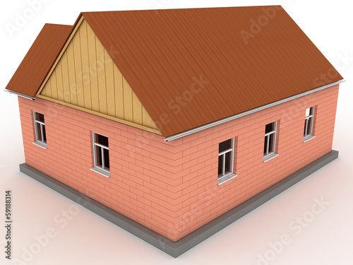 Brick house with wooden roof  #2