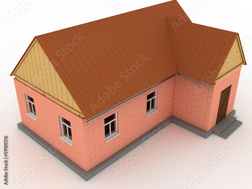 Brick house with wooden roof #3