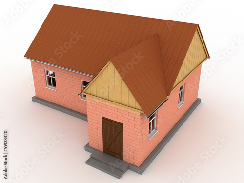 Brick house with wooden roof #1