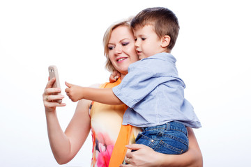 Mother and son with smartphone