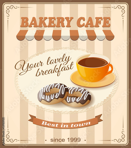 banner for bakery cafe with cup of coffee and donuts