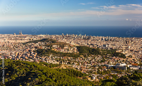 View of Barcelona including Sagrada Familia and Torre Agbar