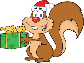 Happy Squirrel With Santa Hat Holding A Gift