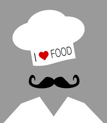 chef wearing i love food hat