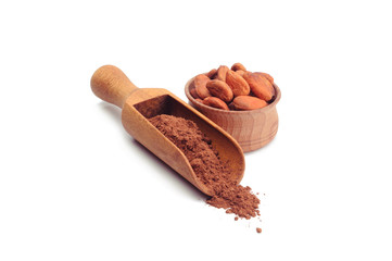 Cacao powder and beans