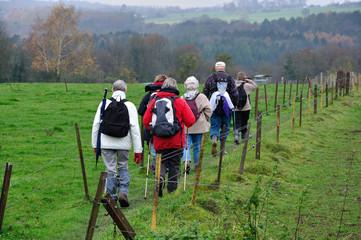 Groupe de randonneurs agés dans la campagne