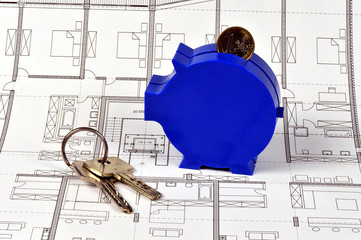 Bauplan, Schlüssel, Sparschwein, Eigentumswohnung, Sparen