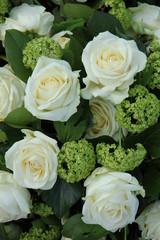 White and green wedding arrangement