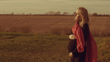 Lonely pregnant woman
