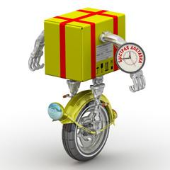 Быстрая доставка. Посылка в виде робота на колесе