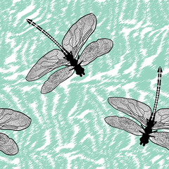 Seamless dragonfly isolated high quality