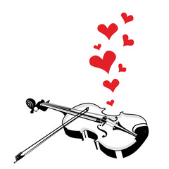 Heart love music violin playing a song