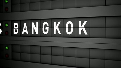 Old airport billboard with city name Bangkok