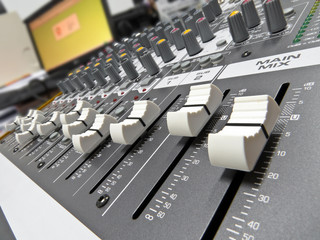 Audio sliders and video monitor