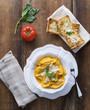 Butternut Squash Mezzaluna Ravioli with Crustini