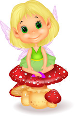 Cute fairy sitting on mushroom