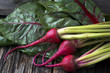 Raw Organic Miniature Red Candy Stripe Beets with Swiss Chard