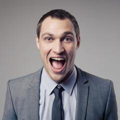 Happy Businessman Screaming