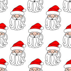 Christmas seamless pattern with Santa Claus face