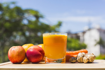 Glass of fresh fruit and vegetable juice
