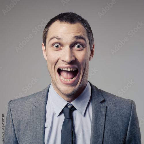 Happy Businessman Screaming