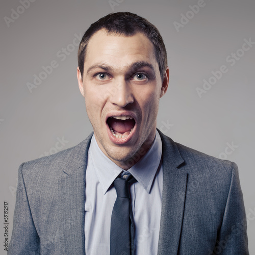Angry Businessman Screaming