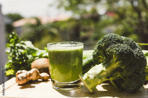 Fresh green vegetable juice