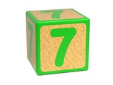 Number 7 - Childrens Alphabet Block.