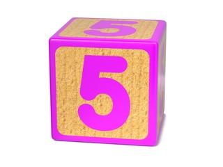 Number 5 - Childrens Alphabet Block.