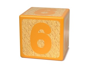 Number 6 - Childrens Alphabet Block.