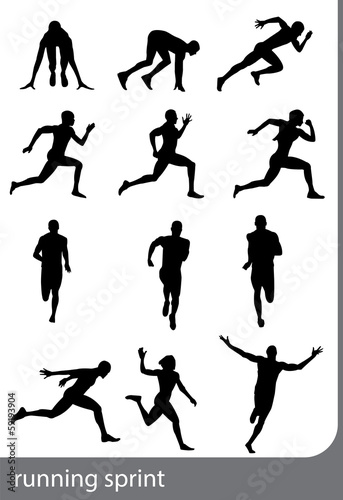 Running sprint, vector