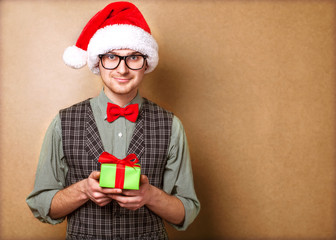 Christmas Santa hat isolated man portrait hold christmas gift