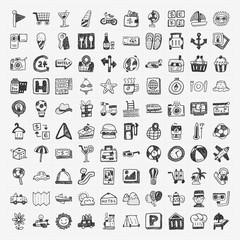 doodle travel icons set
