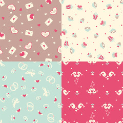 Set of four romantic seamless pattern