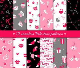 Twelve valentines seamless patterns