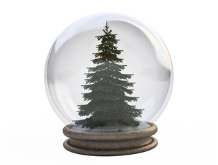 3D Pine Tree In a Snow Globe