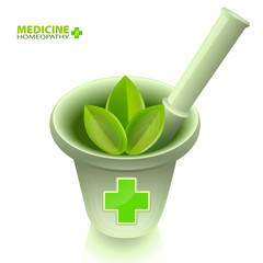 Medical mortar with pestle and a green cross.