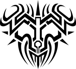 vector face devil tribal for back on white background