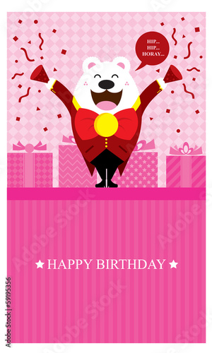Happy Birthday Polar Bear pink