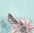 Illustration of beautiful butterflies flying around flower.