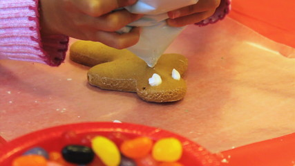 Christmas Gingerbread Man Cookie Gets Icing