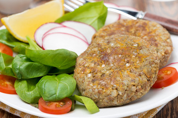 vegetarian cutlets with fresh salad