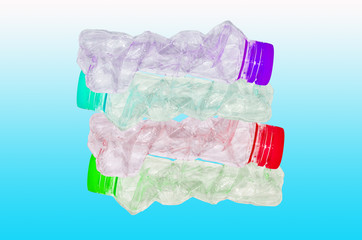 recycling or stack of muti colour plastic bottles