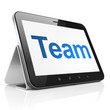 Finance concept: Team on tablet pc computer