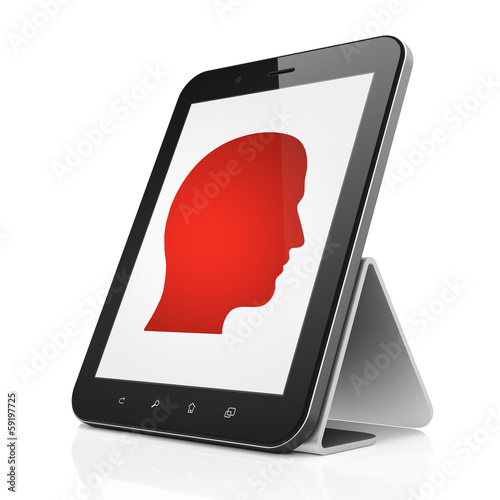 Finance concept: Head on tablet pc computer