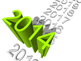 Conceptual  3D green 2014 year for New Year or business