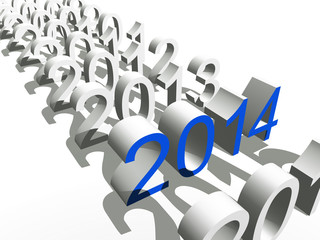 Conceptual  3D blue 2014 year for New Year or business