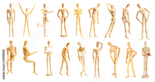 Collage of wooden mannequin in different positions