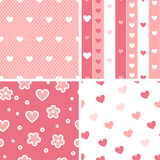 Hearts valentine's day seamless patterns set in pink and white